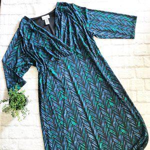 NWT Catherines Plus Size faux wrap blue dress 1x